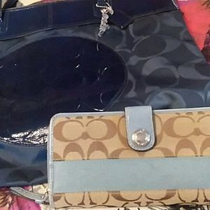 COACH baby blue/brown wallet